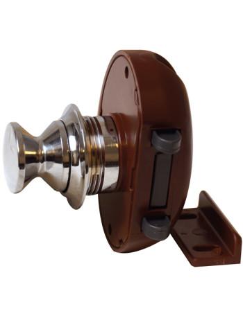 Skabslås forkromet 16mm med brun klik-luk lås, brug 05.1126+