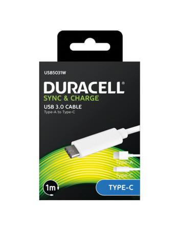 Duracell sync / ladekabel usb til usb-c hvid (1m)